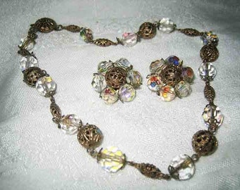 Vintage Crystal & Gold Filigree Beaded Necklace Earrings