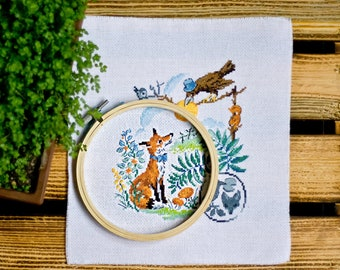 Completed counted cross stitch Finished embroidery Veronique Enginger For nursery Wall hanging Handmade needlepoint French Fairy tale Funny