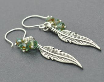Sterling Silver Feather Earrings, Glass Earrings, Sea Earrings, Czech Glass Earrings, Leaf