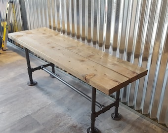 Pipe Base Bench with Wood top