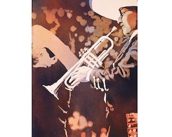 Mariachi band in La Paz, Bolivia.  Watercolor Bolivia.  Watercolor painting.  Mariachi painting.  Watercolor fine art print Bolivia Mariachi