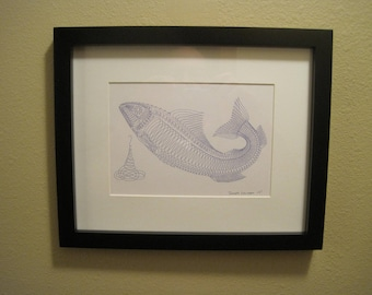"""Pen and Ink Drawing, """"Fish"""""""
