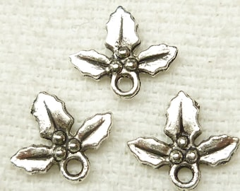 Silver tone Holly Berries and Leaves Charms (8)