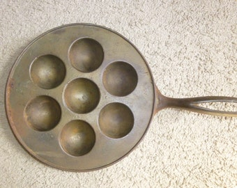 Antique Cast Iron EbelSkiver or Monk Pan - lovely display and decor piece for wall or hearth -