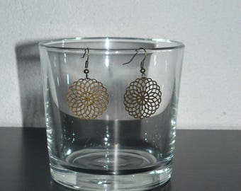 Earring bronze rose prints