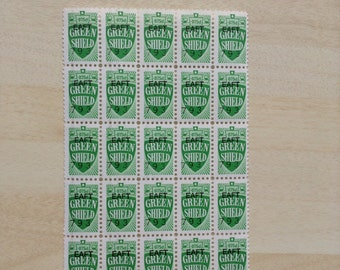 25 Green Shield Stamps - Collect - Craft - Cards - Collage - Smash Book - Junk Journal - Scrapbook - ATC - Pocket Letters