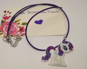 Gift Idea-string necklace pony unicorn white purple-My Little pony Necklace