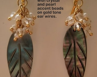 Iridescent Brown Leaves with Pearl and Crystal Accent Earrings on Gold Lever Backs