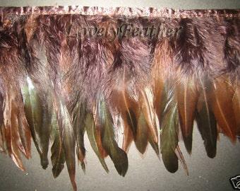 Coque feather fringe of brown irridescent 1 feet trim