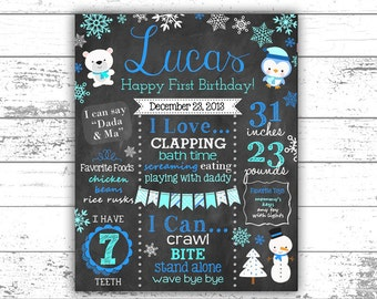 Boy's Winter Onederland Chalkboard - Snowflakes - Winter Theme Birthday - Boy's First Birthday Chalkboard - Snowman - Blue, teal, white