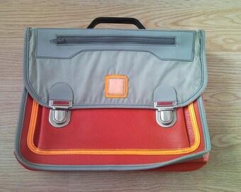 Retro old school bag 80s leatherette student bag, vintage imitation leather school backpack satchel laptop bag hand bag with shoulder straps