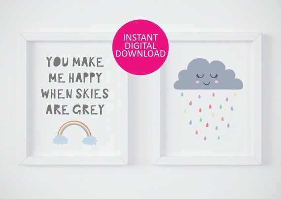 you make me happy when skies are grey, rain cloud nursery illustration, kawaii print, nursery quote print, nursery decor, nursery wall art