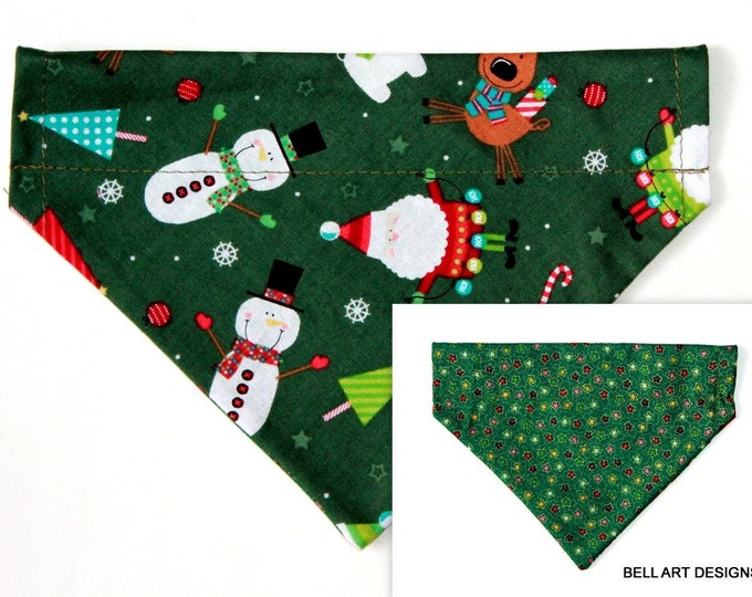 DOG BANDANA ~ Over the Collar ~ Reversible ~ Christmas ~ Bell Art Designs ~ Small DCS485
