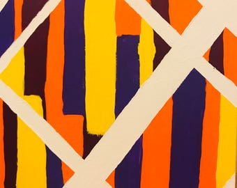 Abstract stripes painting - contemporary art, purple, orange, yellow, white