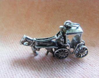 Vintage Sterling Silver Charm Horse & Carriage