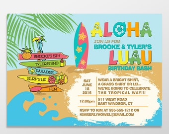 Kid's Luau Birthday Invitations, Girl or Boy Birthday Luau Invitations, Birthday Invitations - PRINTED - PRINTABLE - Luau Birthday Party
