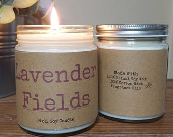 Lavender Fields Scented Soy Candle, personalized candle, Holiday Candle, Gifts for Her, Spa candle, Summer Candle, 8 oz soy candle gifts