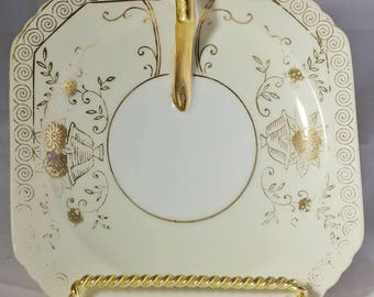 Vintage Gold Handled Square Ceramic Saucer with Scalloped Clipped Corners Gold Floral and Scroll Motif Made In Japan Plate