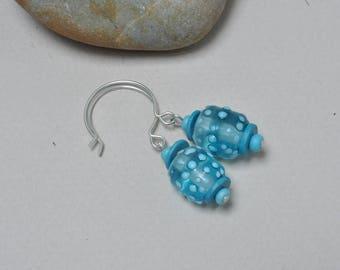 Frosty skies earrings - Lampwork jewelry by Loupiac