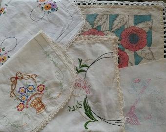 5 Vintage Needlework Embroidery Remnants - Delightful