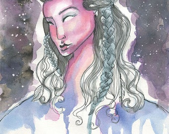 Mother Earth- Watercolor Giclee Art Print by Amber Button