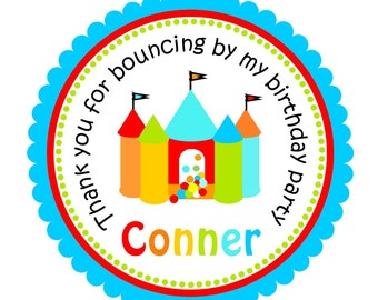 Bounce House Stickers, Personalized Labels, Bounce House Birthday, Bounce House Stickers or Tags - set of 12
