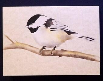 Note Card - Hand Stenciled - Chickadee - Bird Painting - Blank Greeting Card - Notecard - Bird Stencil - Painting of Chickadee - Bird Art