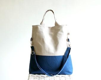 UNISEX Tote Bag, ColorBlock Tote, LAPTOP BAG, Men bag Messenger Bag,  Handbag, Two tones Bag, Teal and Khaki (off white) gift for men, women