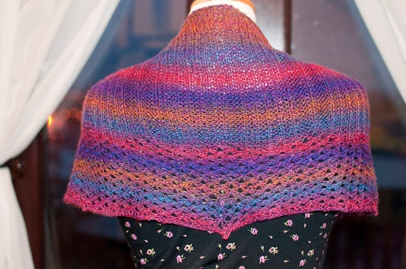 Handknitted Shawlette in Blue, Red and Gold