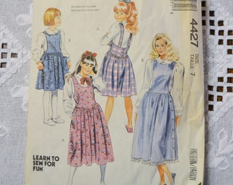 Vintage McCalls 4427 Sewing Pattern Girls Jumper Size 7 Crafts  DIY Sewing Crafts PanchosPorch