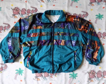 Vintage 90's Bootleg GUCCI full zip Windbreaker Jacket, size Large abstract Color Block