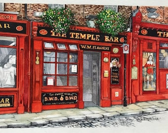 The Temple Bar Pub - Dublin, Original Painting by Roisin O'Shea