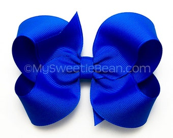 Electric Blue Boutique Bow, 4 inch Hair Bow, Neon Blue, Basic Bow, Baby Toddler Girl,  Toddler Bows, Hair Bows for Girls