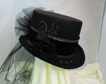 black TOP HAT victorian steampunk renaissance faire cosplay sz Large