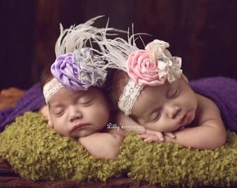 Twin Prop, Vintage Style Headband, Baby Girl Headband, Newborn Photo Prop, Photography Prop, Pink Headband, Lavender Headband