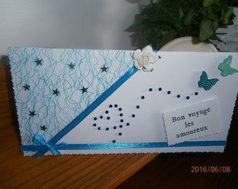"""Carte thème mariage : """"Bon voyage les amoureux"""", duo de papillons"""