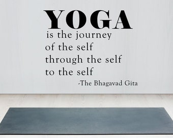 Yoga wall decal, Yoga quote wall art, Yoga quote decal, Yoga vinyl decal, Yoga is the Journey of the Self, Yoga wall mural, Yoga quote