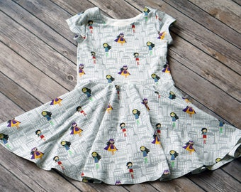 Superhero Dress. Supergirl Dress. Toddler Dress. Little Girl Dress. Twirl Dress. Twirly Dress. Baby Dress. Girl Superhero Dress.