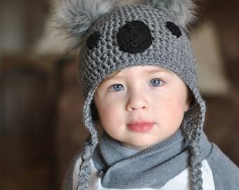Koala Crochet Hat with Fur Ears