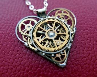 "Clockwork Heart Pendant ""Ahern"" Steampunk Necklace Industrial Gear Mechanical Watch Parts Love Gift Wife Girlfriend Birthday Gift"