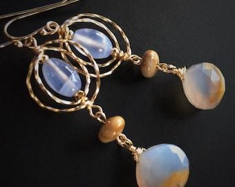 Serenity Blue Chalcedony Earrings, Gold Spiral Earrings, Banded Jasper, Gift for Her, Natural Stones