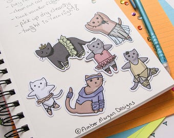 Ballet Cats Stickers, Paper Stickers, Journaling, Sticker Flakes, Cute Cats, Stationery, Scrapbooking, Dance Kittens