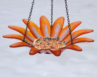 Orange Hanging Bird Feeder Bird Bath, Recycled Glass