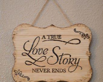 Burned wood sign, wedding sign