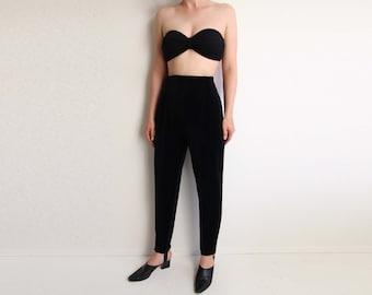 VINTAGE Stirrup Pants 1990s Black Velvet High Waist Leggings Medium