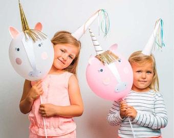 Unicorn balloons, Meri Meri Unicorn birthday balloon kit, Unicorn stick balloons, Unicorn party supplies, Unicorns and Rainbow party