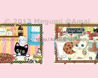 "4 designs - 4x5"" Kitties & Cookies Folded Card, Envelope, Stickers.  cat kitten animal pet milk sugar pastry toque baking bakery tulip art"