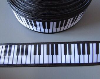 Piano Keys 2.2cm Grosgrain Ribbon x 1 metre