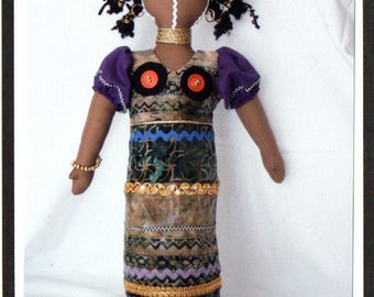 """RC604E – """"Ndebele"""" African  Cloth Doll Sewing Pattern – PDF Download Doll Making Pattern"""