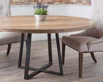 Round Industrial Steel Pedestal Table